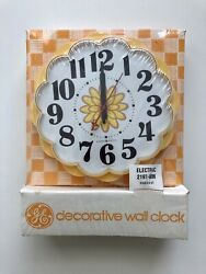 New Old 🌼 Vintage 7 General Electric Yellow Daisy Wall Clock Retro Ge Flower