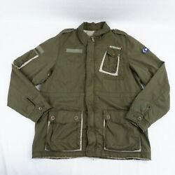 Tom Wolfe Indian Army Jacket Large Adult Green Military Patches Men's A49-24
