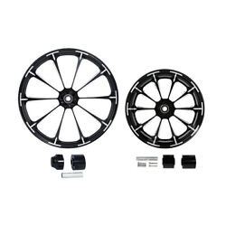 Black 21/23/26/30 Front And 18and039and039 Rear Wheel Rim Hub Fit For Harley Touring 08-21