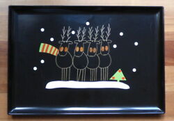 Vintage Couroc Tray Christmas Reindeer Inlaid Wood Brass Mcm 18 X 12.5