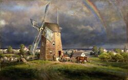 Oil Painting Edward Lamson Henry - Old Hook Mill With Horses In Landscape Canvas