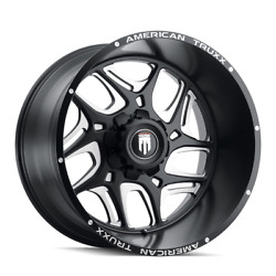 24 Inch 8x180 Wheels 4 Rims Black Milled -76mm American Truxx Sweep At1900