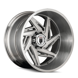 24 Inch 8x165.1 Wheels 4 Rims Brushed -76mm American Truxx Spiral At1906