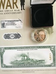 Us Mint Wwi 100 Anniversary Proof Silver Dollar Bureau Of Engraving 1918 2 Note