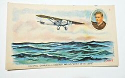 1920s Charles Lindbergh Spirit Of St. Louis Trade Card-ohio State Life Ins. Co