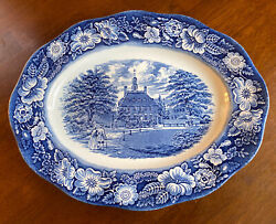 """Made In England Liberty Blue Governor's House Williamsburg 12"""" Platter"""