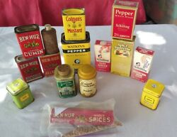 Vintage Lot 15 Spices And Tea, Metal Tins And Extract Bottles-some Full Good Cond