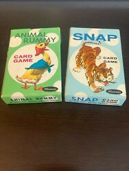 Vintage 1960s Whitman Snap Card Game Bundle - Animal Rummy And Snap