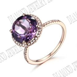 Noble Solid 10k Rose Gold Pave Prong Setting Amethyst And Si/h Real Diamond Ring