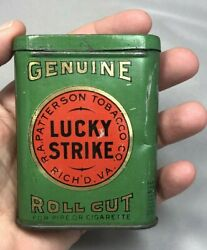 C 1910 Sample Size Lucky Strike Tobacco Pocket Tin Antique Advertising Small