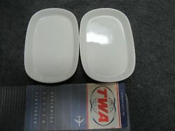 Vintage Twa Airlines 1962 Timetable And Airline China Plates 44-136 Set Of 2 Nice