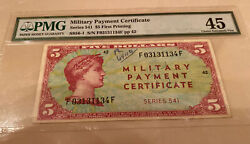 Usa Military Payment Certificate Mpc Series 541 5 Five Dollar Pmg 45 Choice Ef