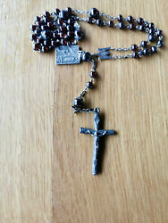 Silver Rosary Red Garnet Gemstone Antique French Cross And Chain Prayer Beads