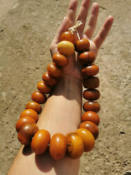 Veined Amber Bakelite Large Antique 610gr. Beads Islamic African Trade Necklace