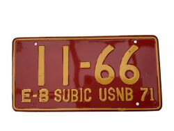 1971 Vintage E-b Subic Usnb Naval Base License Plate Red Plate 4 Digits