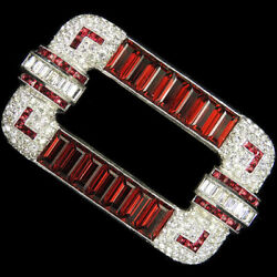 Dujay Pave Baguettes And Invisibly Set Rubies Deco Gallery Set Oblong Bar Pin