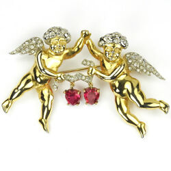 Mb Boucher Gold Pave Pair Of Putti Cherubs With Two Pendant Hearts Pin