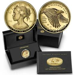 2017-w 100 Gold Liberty Coin ✪ High Relief ✪ Proof 225th Anniversary 1◢trusted◣