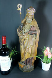 Antique French Chalkware Statue Saint Eloy Statue Bishop Religious
