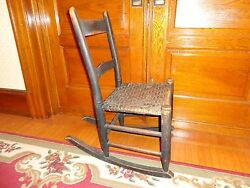 Antique 19th.c Pennsylvania Rush Seat Childs Rocking Chair , With Original Paint