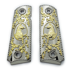 1911 Grips Full Size . Nickel Plated Grips 45/38 Super Colt Kimber Grips Ambi