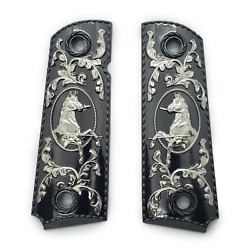 1911 Grips Full Size Blk Nickel Plated Grips 45/38 Super Colt Kimber Grips Ambi
