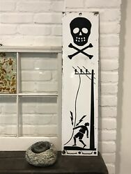 Belgian Porcelain Sign Electrocuted Man And Skull And Crossbones