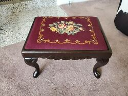Vintage Victorian Style Floral Needlepoint Carved Wood Foot Stool