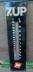 Vintage Advertising 7up Black Metal Bubble Lettered Thermometer Rare