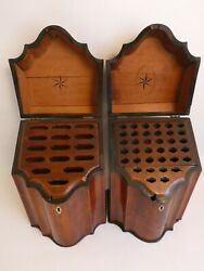Pair Of Mahogany George Iii 18th Century Knife Boxes With Star Inlays