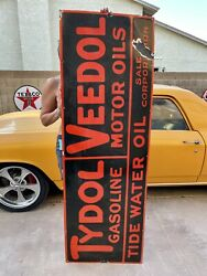 Huge Tydol And Veedol Gas Oil Gasoline Porcelain Sign 72andrdquox24andrdquo Very Heavy Porcelain