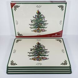 Set Of 8 Spode Christmas Tree Pimpernel Hard Cork Back Placemats 16 X 12 New