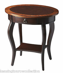 Tables - Brazzaville Oval Inlaid Side Table - End Table - Free Shipping