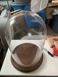 Bard's Bell Display Jar 8 X 12 Vintage Glass Dome With Wood Base