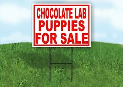 Chocolate Lab Puppies For Sale Red Yard Sign Road With Stand Lawn Sign