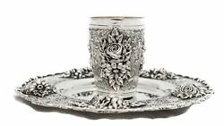 Fine Portuguese 925 Sterling Silver Hand Chased Heavy Floral Design Cup And Tray