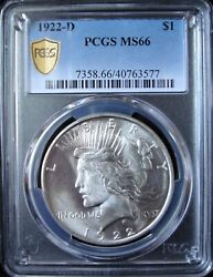 1922-d Peace Silver Dollar - Pcgs Ms 66 - Gold Shield