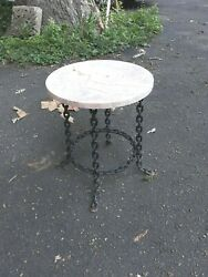 Antique Industrial Welded Chain Marble Top Garden Table Stand