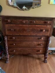 Antique Mahogany Empire Chest With Hairy Paw Feet-acanthus Carved Columns