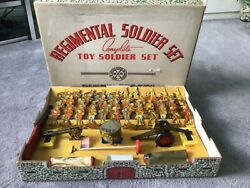 Rare Marx Regimental Boxed Tin Soldier Set1940 Lots Of Play Value Here.