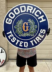 Large 30 Porcelain 1921 Goodrich Tested Tire Company Gas Station Pump Sign