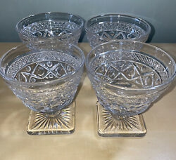 Vintage Imperial Glass Cape Cod Clear Sherbet Dessert Dishes- Set Of 4