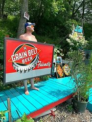 Vintage Early Rare 40and039s Grain Belt Beer Large Bottle Cap Tin Metal Sign 59x36