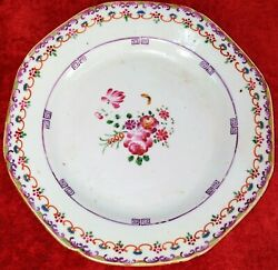 3 Plates In Rose Famille Chinese Porcelain. Indian Company. China. Xviii-xix