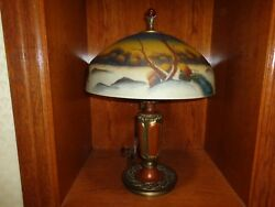 Early 20th.c Reverse Painted Glass Shade Table Lamp, Works, Antique/vintage J