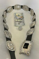 10+ozt. Navajo Concho Belt Buckle Sterling Silver - Scalloped And Stamped New Belt