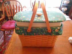 Longaberger Personal Solutions Magazine Basket W/ Office Insert And Lid