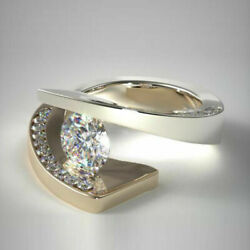 Real Round Cut 0.94 Ct Diamond Engagement Ring 14k Multi-tone Gold Size 5 6 7 8