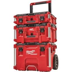 Milwaukee 3 Piece 22 In Modular Tool Box Storage System Durable Metal Reinforced