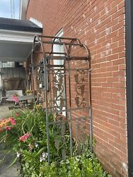 Trellis W/ Metal Leaves Winding Down And Around Trellis Used Rusted Barely